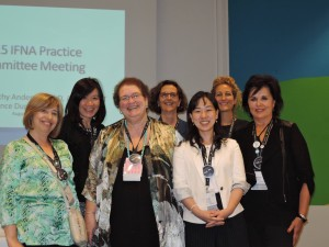 Members of the IFNA Practice Committee who met at IFNC12. Left to right: Maria do Céu Barbieri Figueiredo (Portugal), Li-Chi Chiang (Taiwan), Kathryn Anderson (USA), France Dupuis (Canada), Junko Honda (Japan), Cristina Garcia-Vivar (Spain), Janice M. Bell (Canada)